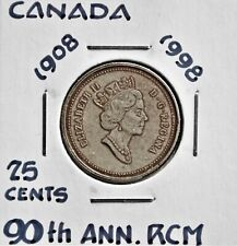 90th Ann. RCM - 1998 Canada 25 Cents Silver, Antique finish