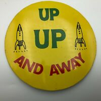 "Rare Vintage Rockets Space Program 6"" Pin Pinback Button Huge Made In Japan U5"