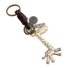 Men Women Cartoon Giraffe Vintage Woven Leather Keyring Keychain Trinket Jian