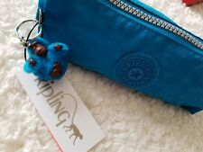 Kipling Freedom Fabian Pen Pencil Cosmetic Pouch Bright Turquoise Monkey Keyfob