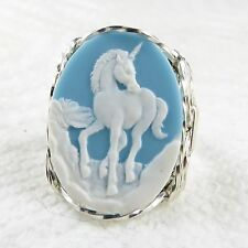Unicorn Cameo Ring .925 Sterling Silver Jewelry Blue Resin Size Selectable