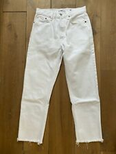 Re/done originals - white stove pipe high rise jeans w/ raw hem size 27