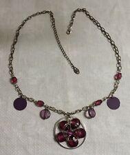 "Robert Rose ST Metal Link Chain Purple Plastic Flower Pendant 23.5"" Necklace"