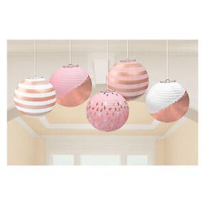 5 x Rose Gold & Blush Pink Mini Lanterns Hanging Decorations w/ Foil Finish 12cm
