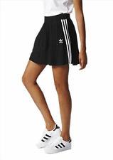adidas Originals Women's 3-Stripes Rib Knit Pleated Stretch Mini Short Skirt