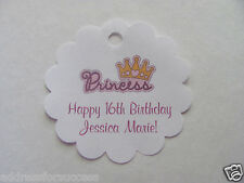 24 Personalized Princess Crown Birthday Favor Scalloped Tags Party Favors