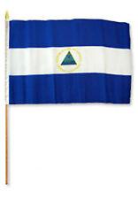 """12x18 12""""x18"""" Nicaragua Stick Flag wood staff"""