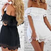 Damen Frauen Sommer Beach Off Shoulder Party Evening kurzen-Mini Kleid Spitze