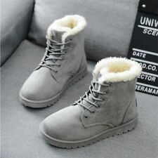 Women Winter Snow Boots Warm Flat  Lace Up Shoes Flock Fur Suede Ankle