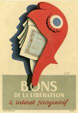 """""""BONS DE LA LIBERATION""""Affiche originale entoilée Roland ANSIEAU 1945 (MARIANNE)"""