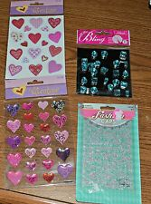 Scrapbooking Items - Bling, Valentines and Fashion Caps Lot of 4