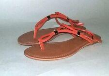 American Eagle Orange Gladiator Women Roman Sandal Flat Strap Thong Flip Flop7.5