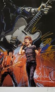 """RONNIE WOOD """" Weaving """" Mick Jagger HAND SIGNED ROLLING STONES Screenprint"""