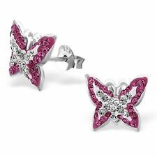 Sterling Silver Butterfly Studs Earrings Pink & White (Clear) Stones Genuine 925