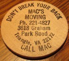 Vintage Mac's Moving Triangle, VA Wooden Nickel - Token Virginia