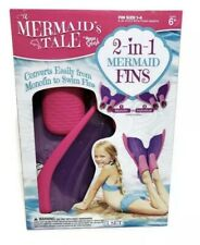Aqua Splash 2 In 1 Mermaid  FIns  Monofin to Swin Fin Ages 6 up Girls