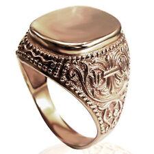 Men's 14k Rose Gold Signet Engravable Ring 7 to 14