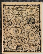 Impression Obsession Rubber Stamp Coffee and the Crossword Wood Block NEW L4301