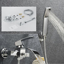 Bathtub Waterfall Faucet with Handshower Wall Mount Single Handle Mixer Tap Set