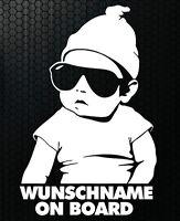 1x Aufkleber WUNSCHNAME ON BOARD Sticker Hangover Baby Auto Kind fährt mit FUNmy