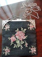 Needle Point Purse Petit handbag Floral 4 foot chain Cherub Vintage