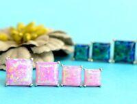 925 Sterling Silver Square Opal stud Earrings