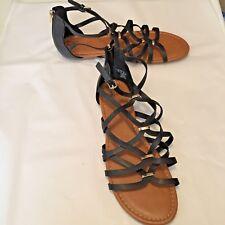 "SM Women's Shoes Black Faux Leather Gladiator Sandals Zipper .5"" Heels Size 11"