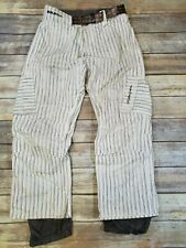 Burton Mens The White Collection White & Gray Stripe Snowboard Pants size Medium