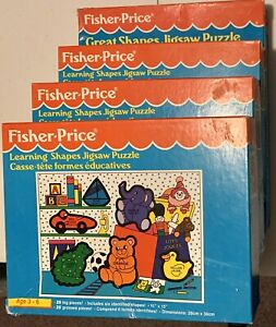 1992 Lot of 4 Fisher Price Learning Shapes + Great Shapes Puzzles 20 24 pcs