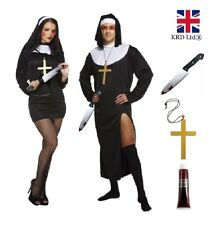 KILLER ZOMBIE NUN PRIEST COUPLES COSTUME Ladies Mens Halloween Fancy Dress UK