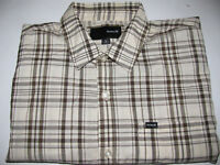 Hurley Men's Dress Shirt, Size Large, Button down, long sleeve, Brown and white