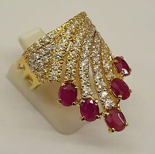 STUNNING 22CT SOLID GOLD INDIAN ASIAN RUBY CLUSTER GEM SET DRESS RING