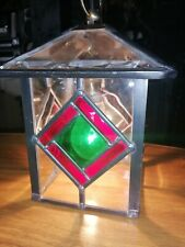 Heavy Tiffany Style Leaded Glass Lantern Porch Ceiling Pendant Light
