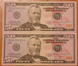 Lot of Two Uncirculated Consecutive Serial Numbers Series 2013 $50 Bills.