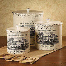 New French Country Farmhouse Chic Shabby 3 White Canister Set  Village Farm