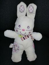 doudou peluche lapin blanc rose My Baby NICOTOY 29cm
