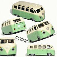 VW VOLKSWAGEN BUS 1:64 (7 cm) Model Toy Car Diecast Samba Miniature Camper Green
