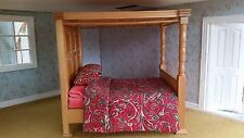 Dolls House Miniatures 1/12th Scale Oak Four Poster Bed Plus Bedding New DF1148