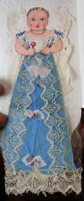 C1850 Rare Hand Made Infant Doll In Coated Stock Envelop Diecut Head Cloth Dress