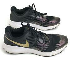 Nike Trainers UK 4 EU 36.5 Black Gold Nike Swoosh Sporty Gym Wear 291996