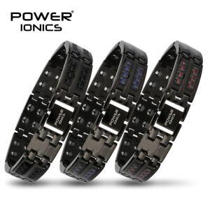 Power Ionics Mens Carbon Fiber 100% Pure Titanium Magnetic Therap Bracelet Band