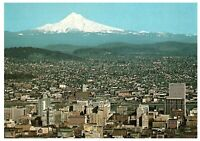 Portland Oregon City of Roses Mt Hood Willamette River Postcard Aerial View