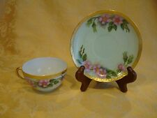 PK Silesia Germany Floral W/ Heavy Gold Trim China Cup & Saucer CA 1914-18 ~Pink