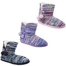 Divaz Vienna Pull On Knitted Pom Booties Womens Knit Slippers Ladies