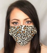 Handmade Face Mask Covering with Filter Pocket & Nose Wire Leopard Print Cotton