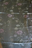 """Vintage Mid Century Pair of Green Floral Curtains  - 40"""" W x 79"""" D"""