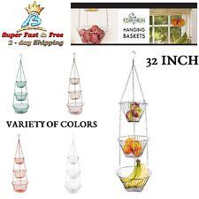 "Beautiful 3 Tier Hanging Fruit Basket Kitchen Wire Vegetable Storage 32"" Holder"