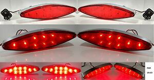 Pair Red LED Cats Eye Brake Turn Signals Tail Lights Stop Lamp w/ Chrome Bezel