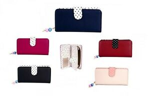 Womens RFID Blocking Large Faux Leather Polka Dot Purse Zipped Coin Section New