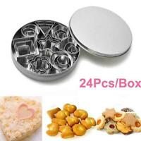 24pcs/Set Cake Stainless Steel Cookie Round Mold Baking Dough Biscuit AU V6G1